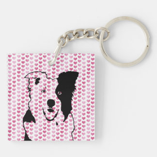 Valentines - Border Collie Silhouette Key Ring