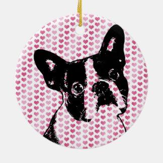 Valentines - Boston Terrier Silhouette Christmas Ornament