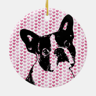 Valentines - Boston Terrier Silhouette Round Ceramic Decoration