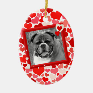 Valentines Boxer Dog Hearts Christmas Ornament
