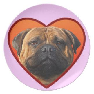 Valentine's bullmastiff party plates