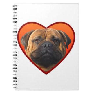 Valentine's bullmastiff spiral note book