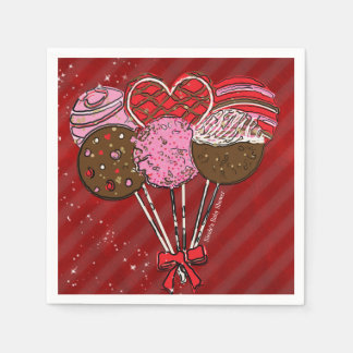 Valentine's Cake Pop Modern Chic Birthday Party Paper Napkin