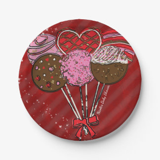 Valentine's Cake Pops Modern Chic Birthday Party Paper Plate