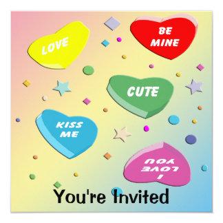 """Valentine's Candy Hearts Party Invitation 5.25"""" Square Invitation Card"""