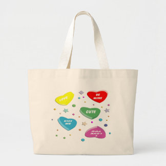 Valentine's Candy Hearts Canvas Bags