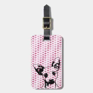Valentines - Chihuahua Silhouette Luggage Tag