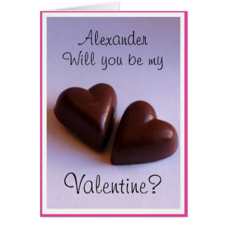 Valentines Chocolate Hearts with Name any Text Greeting Card