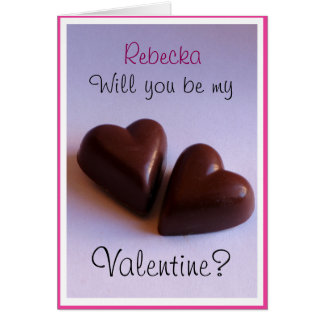 Valentines Chocolate Hearts with Name any Text Note Card