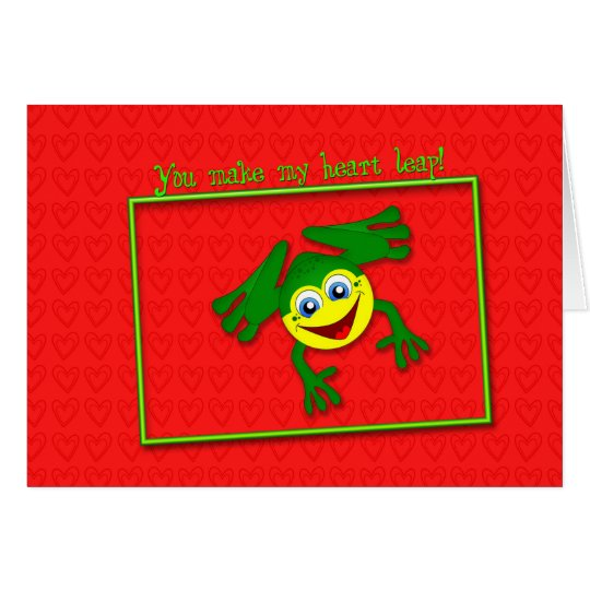 Valentine's Cute Frog Leap Card