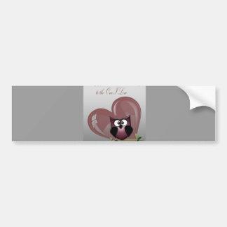Valentine's Cute Owl, to the One I Love Bumper Sticker