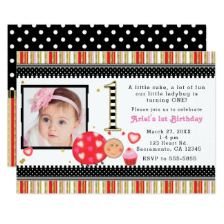 Valentines Day 1st Birthday Party Photo Invitation