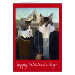 Valentines Day American Gothic funny Cat Greeting Card