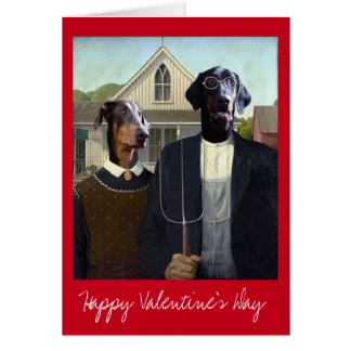 Valentines Day American Gothic funny Doberman dog Greeting Card