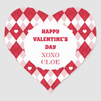 Valentine's Day Argyle Heart Sticker