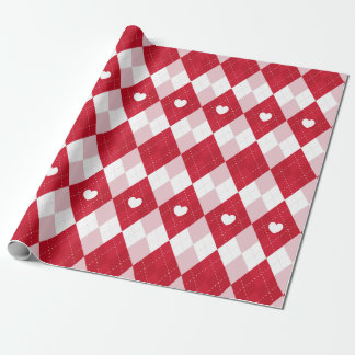 Valentine's Day Argyle Wrapping Paper