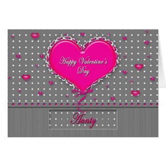 Valentine's Day - AUNTY - Gray/Pink/Polka Dot Greeting Card