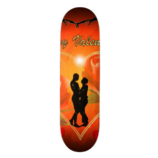 Valentine's day, awesome golden heart custom skate board