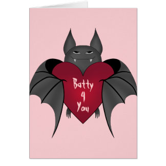 Valentines Day bat Card