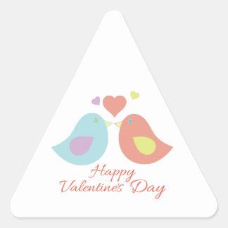 Valentines Day Birds Triangle Sticker