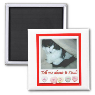 Valentine's Day Black and White Cat Square Magnet