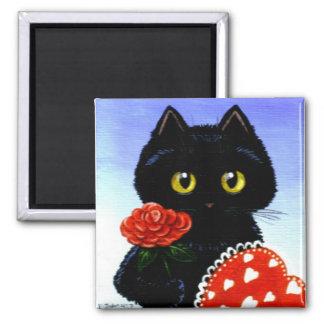 Valentine's Day Black Cat Art Creationarts Square Magnet
