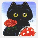 Valentine's Day Black Cat Art Creationarts Square Sticker