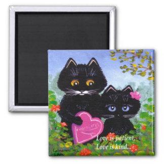 Valentine's Day Black Cat Hearts Creationarts Magnet