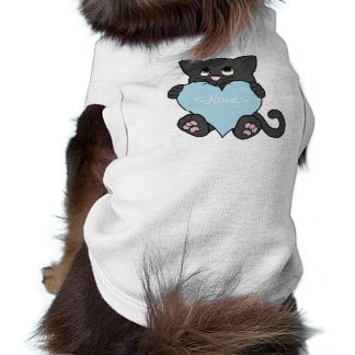 Valentine's Day Black Cat with Light Blue Heart Sleeveless Dog Shirt