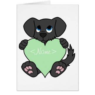 Valentine's Day Black Dog with Light Green Heart Greeting Card