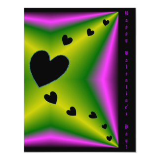 Valentine's Day - Black Heart on Rainbow 4.25x5.5 Paper Invitation Card