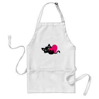 Valentine's Day Black Kitty White Apron
