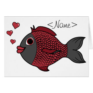 Valentine's Day Black & Red Fish with Heart Bubble Greeting Card