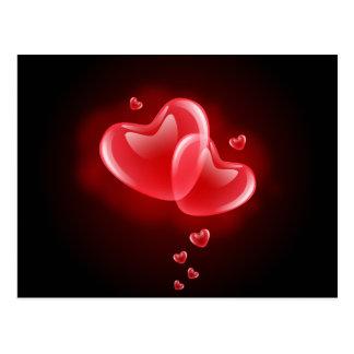 Valentine's day blazing hearts postcard