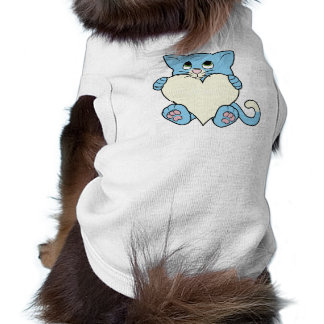 Valentine's Day Blue Cat with Cream Heart Sleeveless Dog Shirt