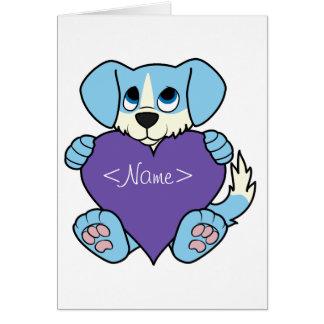 Valentine's Day Blue Dog with Blaze & Purple Heart Greeting Card