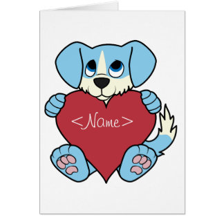 Valentine's Day Blue Dog with Blaze & Red Heart Greeting Card