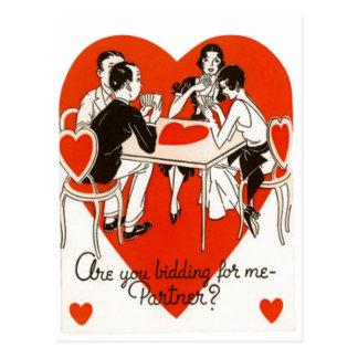 Valentine's Day Bridge Game Postcard
