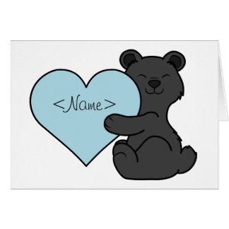 Valentine's Day Brown Bear with Light Blue Heart Greeting Card