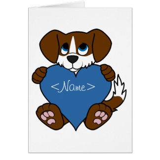 Valentine's Day Brown Dog with Blaze & Blue Heart Greeting Card