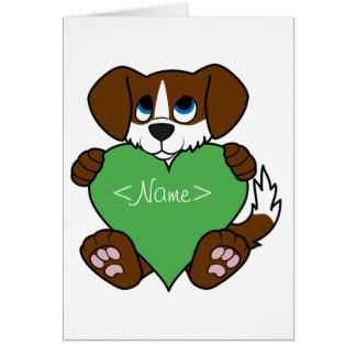 Valentine's Day Brown Dog with Blaze & Green Heart Greeting Card