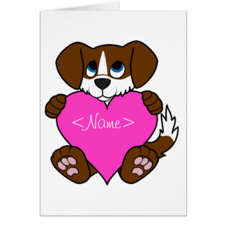 Valentine's Day Brown Dog with Blaze & Pink Heart Greeting Card