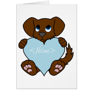 Valentine's Day Brown Dog with Light Blue Heart Greeting Card