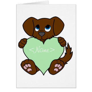 Valentine's Day Brown Dog with Light Green Heart Greeting Card