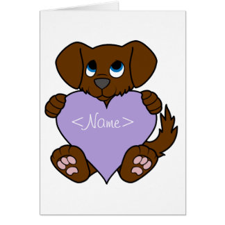 Valentine's Day Brown Dog with Light Purple Heart Greeting Card