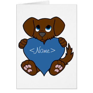 Valentine's Day Brown Puppy Dog with Blue Heart Greeting Card