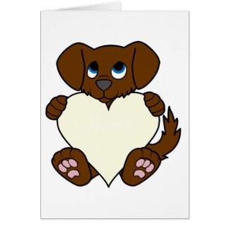 Valentine's Day Brown Puppy Dog with Cream Heart Greeting Card