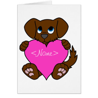 Valentine's Day Brown Puppy Dog with Pink Heart Greeting Card