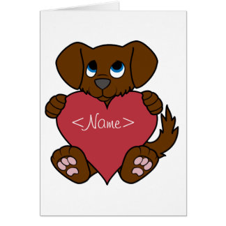 Valentine's Day Brown Puppy Dog with Red Heart Greeting Card