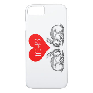 Valentine's Day Bunny Love Personalized iPhone 7 Case